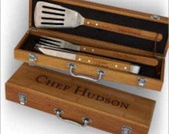 Personalized Grilling Set -  Grilling Utensils & Storage Box - 3374