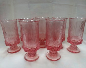 7 Vintage Fostoria Sorrento (2832) Pink Iced Tea glasses