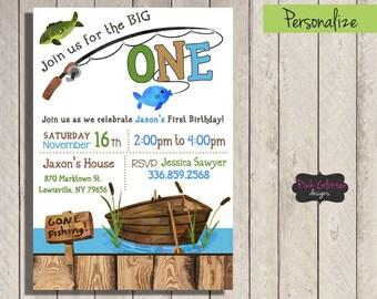 The Big One Invite, The Big One Invitation, Gone Fishing Invite, Gone Fishing Birthday, Gone Fishing First Birthday, Fishing Invite, DIGITAL