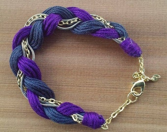 Bracelet braided cotton with chain