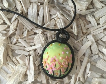 Cute flowers pendant polymer clay necklace