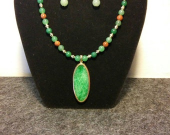 Green and Gold Necklace and Earrings set