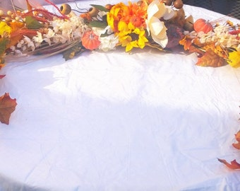 6 Foot Long Thanksgiving / Harvest Pumpkin and Gourd Faux Floral Garland