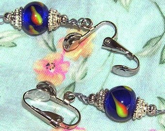 Clip On Blue Glass Beads with Bali Silver Caps