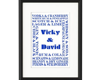 Couples and Drinks Personalised Print