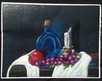 Original Hand Painted Apple Grapes Blue Bottle Candle Acrylic Painting On Canvas 9x12