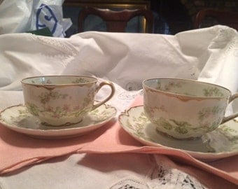 Pair of Haviland  & Co. Limoges The Charonne Tea Cups and Saucers
