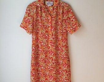 Midi shirt dress, 70s, funky, flower, side pockets, Leo Danal, S, *vintage*