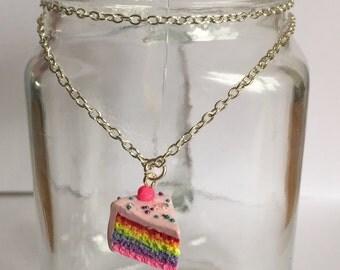 Rainbow Cake Slice Pendant on 18 inch Chain Necklace Handmade