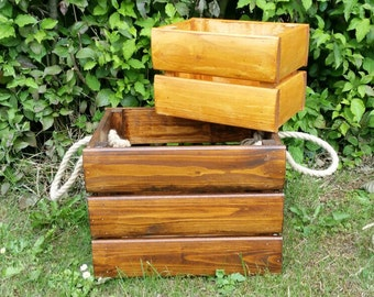 Wooden Crates with rope handle