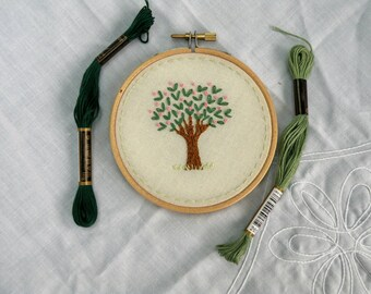 Original Hand Embroidery Hoop  Tree Floral Hoop Art Wall Art 4 inch