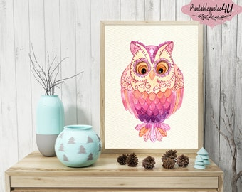 Owl Print, Owl Printable, Pink Owl Wall Art, Owl Wall Decor, Owl Wall Decoration, Colorful Owl, Nursery Wall Art, Animal Poster, Owl Art