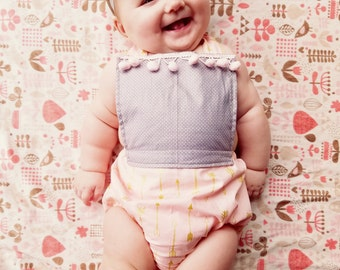 Baby Girl Romper-Baby Romper- Pink Arrow/Gray Romper-Baby Bubble Romper-Baby Sunsuit-Baby Girl Sunsuit-Baby Outfit-Vintage Outfit