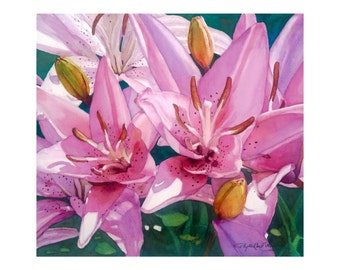 Lilies painting giclee watercolor print, 10/11 by Phyllis Nathans, wall decor, bright pink, purple, floral gifts