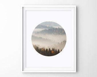 Misty Mountains - Mist Forest Photography, Fog Mist Photo Print, Circle Art Poster, Landscape Prints, Instant Download Digital Picture