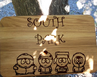 Unique gift ideas for men Cutting board personalized gift for him Chopping board engraved South park Birthday gift Funny gift for father