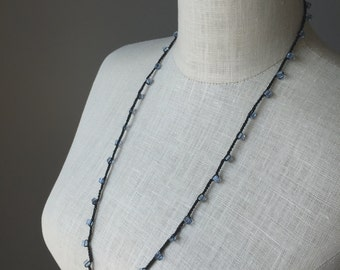 Black and Blue Crochet Necklace