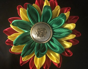 Rasta red, yellow, and green hair flower clip silk