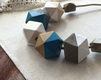 Cape Cod Blue Geometric necklace - wooden necklace - geometric jewelry - wooden jewelry