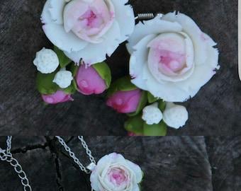 peony pendant, cold porcelain, gift for her, peony set, bride peony, bridesmaids gift, bride earrings, peony jewelry, peony earrings