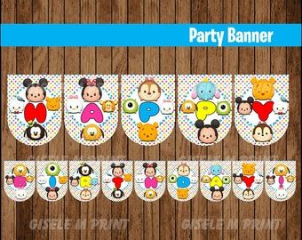 Tsum Tsum Party Banner, Printable Tsum Tsum Birthday Banner, Tsum Tsum Banner instant download