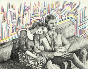 Drawing of 50's Lovers, Print, Art Nouveau