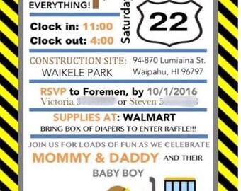 Construction Themed Baby Shower Invitation