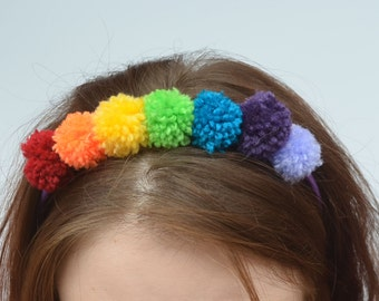 Rainbow Pom Pom Hairband