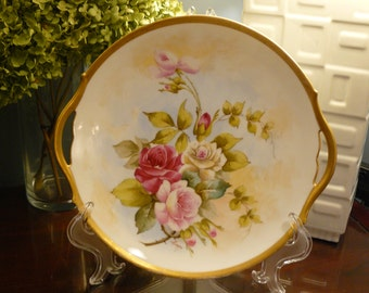 T & V Limoges  Hand Painted Cake Plate