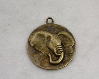 25 pcs Bronze Plate Elephant Pendant With Loop 40mm