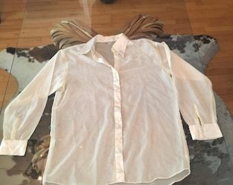Beautiful Vintage White Transparent Angel Blouse Size M