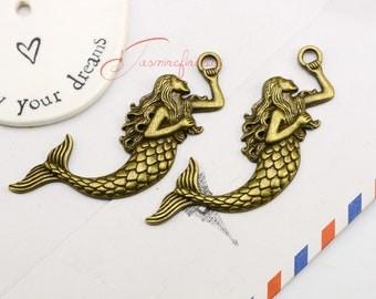5PCS--76x29mm,Mermaid charms, Antique bronze Mermaid Charm, Mermaid pendant, jewelry findings,DIY supplies