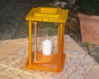 Wooden Lantern, yellow/orange, height 27 cm