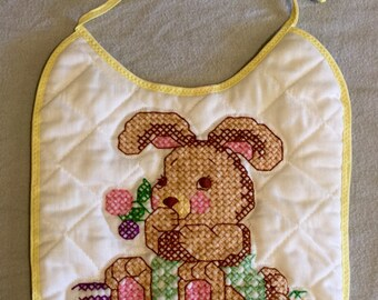 Cute Hand stitched bunny quilted bib