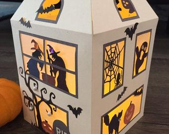 Exquisite Haunted House Halloween Lantern. Halloween Decorations, beautiful light