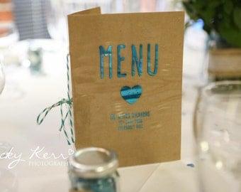 Teal Rustic Wedding Menu Card