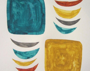 """Mid-Century Watercolor Series : """"Dishes"""", 9 x 12"""