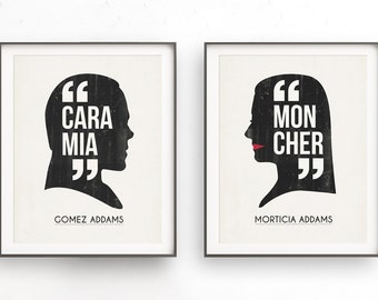 Addams Family. Morticia and Gomez. Cara mia mon cher. Halloween signed. Valentines day. Witch art design. Wednesday gift. Quote instant.