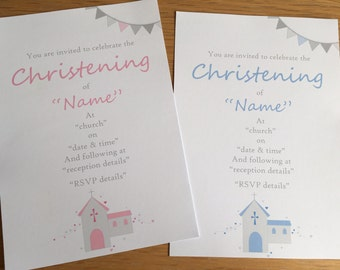 20 personalised christening invitations and tags