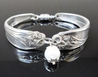Daffodil Spoon Bracelet 1950 Birthday Bridal Jewelry Bridesmaid Gift Wedding Something Vintage Silver Flatware Silverware Hand Crafted