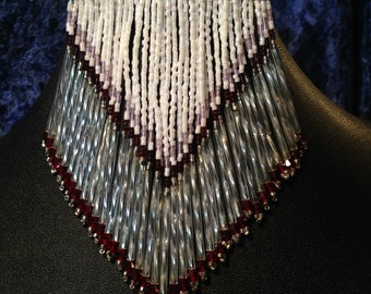 Beaded and swarovski crystal fringe barrette