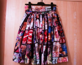 Fashion print gathered skirt