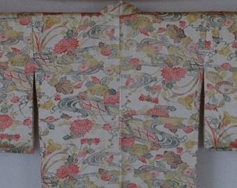 Authenic vintage silk kimono - floral