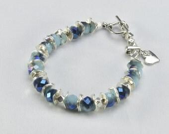 Heart Charm  Blue/ Purple Bracelet- 0043,0067