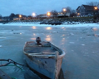 January 30, 2013. Plymouth Harbor, from the town wharf looking toward Water Street.