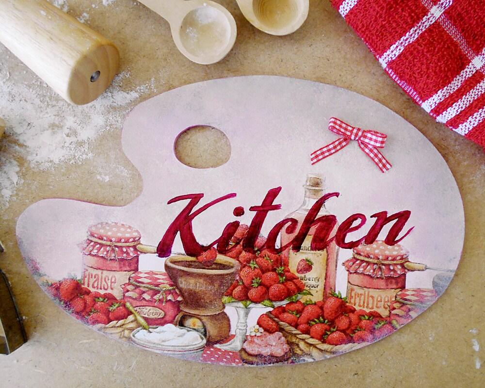 Strawberry kitchen kitchen wall decor bakery sign bakery - Strawberry kitchen decorations ...