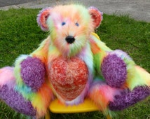 24 inch Artist Jointed Teddy Bear/Rainbow/Made from Faux Fur and Mohair/Teddy Bear/Jointed Bear/Oversized Bears/Giant Bears/Custom Teddy