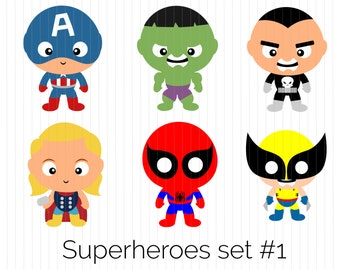 Superhero Clipart - Captain America, Hulk, Punisher, Thor, Spiderman, Wolverine, Instant Download, Printable, Digital, PNG, cute, funko, pop