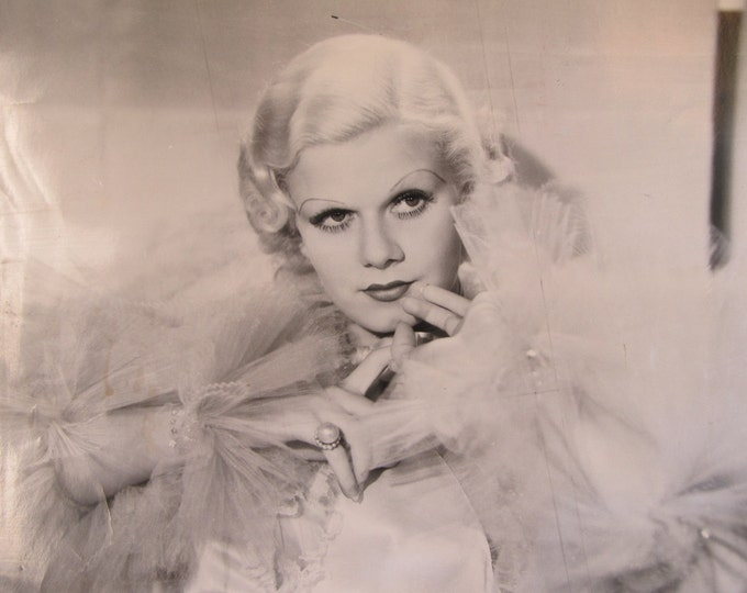 Vintage photo Jean Harlow, original film noir pressprint, silver screen actress portrait image, print to frame, vintage home decor