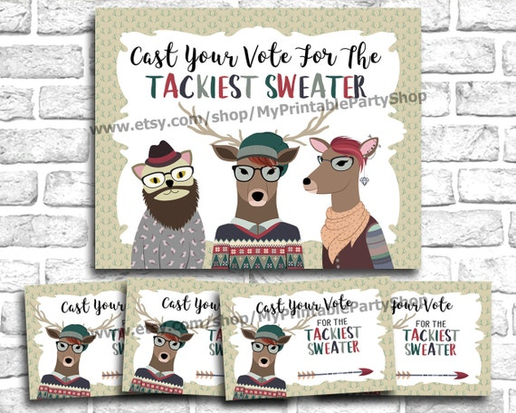 Hipster Tacky Sweater Christmas Party PRINTABLE Voting Ballots